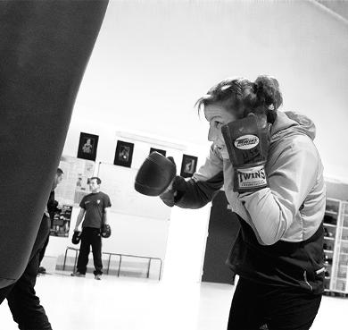 Farida El Hadrati, punching ball, photo de Natacha Sibellas