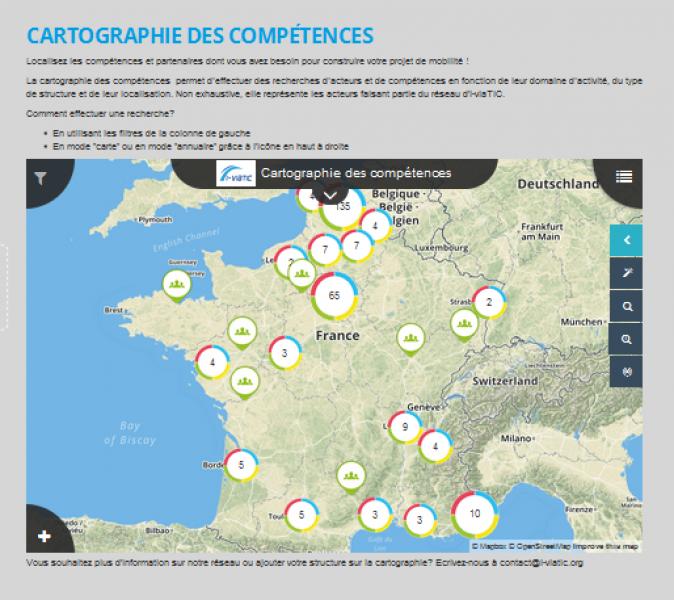 Livraison d'une cartographie intégrée sur le site web d'i-viaTIC